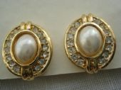 Genuine Classic Christian Dior Earclips - Faux Pearl & Diamante in Gold Plated Metal(Sold)